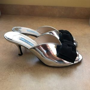 PRADA Silver Kitten Heels Sandals Shoes Size 38.5